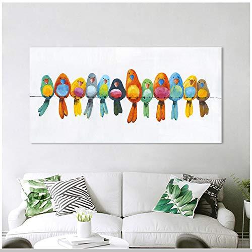 un known Cuadros Decoracion Salon Pájaros en Cables Pintura de Arte Moderno imágenes de Animales Impresiones de Carteles decoración del hogar 23.6x47.2in (60x120cm) x1pcs sin Marco