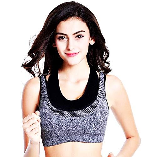Conjunto deportivo para mujer – Top – Sujetador – Gris y Negro – Mujer – Entrenamiento – Gimnasio – Correr – Yoga – Pilates – Idea regalo Navidad y cumpleaños gris y negro. M
