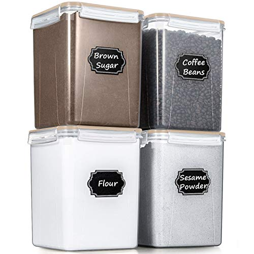 Large Cereal Storage Containers, Wildone Airtight Cereal & Dry Food Storage Containers for Sugar, Flour, Snack, Baking Supplies, Leak-proof with Khaki Locking Lids - Set of 4 (5.2L /175oz)