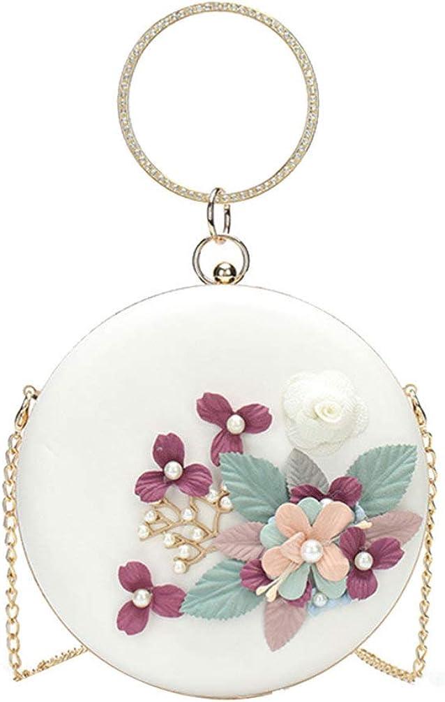 TENDYCOCO Round Evening Bag Floral Clutch Bag Circle Handle Handbag Pearl Beaded Flower Purse Crossbody Bag for Women Ladies