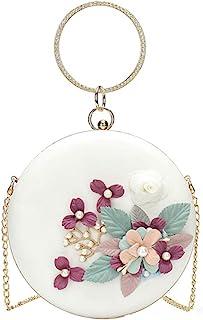 TENDYCOCO Runde Abendtasche Blumen Clutch Bag Kreis Griff Handtasche Perle Perlen Blume Geldbörse Umhängetasche für Frauen...