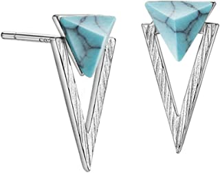 Turquoise Stud Earrings Sterling Silver/Gold Pyramid Earrings Brushed Finish Silver Jewelry for Women