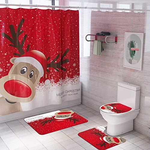 ChYoung 4 STÜCKE Weihnachten Bad Sets Schneemann Weihnachtsmann Duschvorhang/Badematten Teppiche/U-förmigen Podest Matte/Toilettensitzbezug