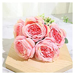KEHUITONG SJLS Beautiful Rose Peony Artificial Silk Flowers Small White Bouquet Home Party Winter Wedding Decoration Fake Flowers
