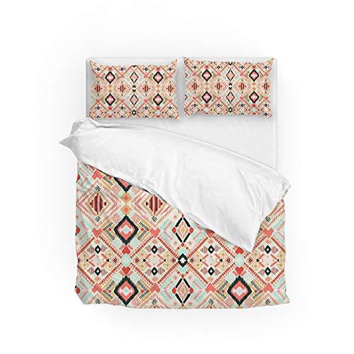 HAOXIANG Juego de funda de edredón de 3 piezas Conteo de funda de edredón y 2 fundas de almohada Kente tela resistente a la decoloración ultra suave y fácil cuidado Queen