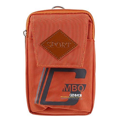 DFV mobile - Multipurpose Universal Sport Design Belt Case Compatibile con WIKO Jimmy - Orange (16 x 10 cm)