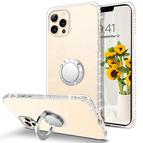 """BENTOBEN Compatible with iPhone 12 Pro Max Case, Clear Glitter Bling Slim 360° Ring Holder Kickstand Shockproof Non-Slip Soft TPU Bumper Case for iPhone 12 Pro Max 5G 6.7""""- Clear Glitter"""