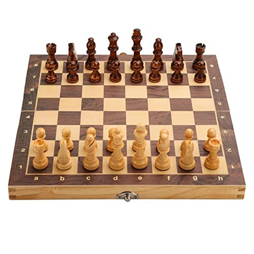 WSZMD Ajedrez Internacional Juegos de ajedrez Plegable de Madera magnética Tablero de Juegos de Mesa de Almacenamiento Interior para Adultos Niños de Adultos Juego Familiar Juego de ajedrez