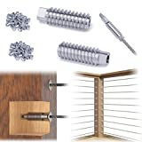 Muzata Cable Railing Kit Invisible Turnbuckle Swage Lag Screw Tensioner,Completely Hidden Threaded Stud for 5/32 3/16 Wire Rope Wood System T316 Stainless Steel Stair Deck Post CR99 40 Packs CV1 CG1
