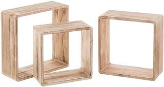 Juego de 3 estanter/ías en forma de cubo de madera shabby maciza marr/ón claro para sal/ón