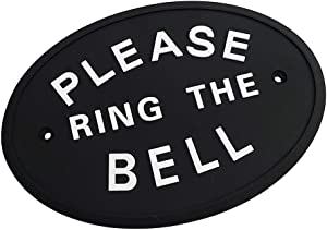 Baosity 1pc Silver Please Ring The Bell Garden House Wall Door Plaque Sign in Black
