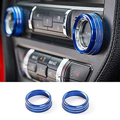 TopDall Sporty Blue Aluminum Center Console Volume Tune Knob Cover Ring Trim Interior Accessories for Ford Mustang 2015-2019