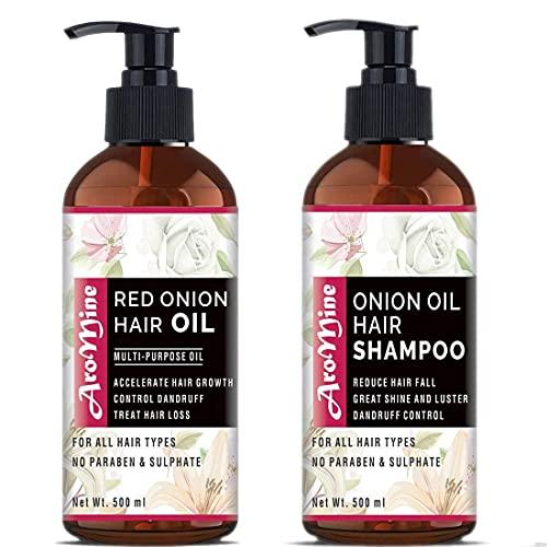 Glamorous Hub Aromine Gama de spa anticaída con aceite de cebolla + champú de cebolla para el control de la caída del cabello, 1000 ml (cada 500 ml)