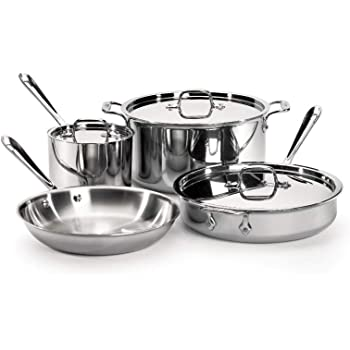 All-Clad Tri-Ply Stainless Steel 7 Piece Cookware Set