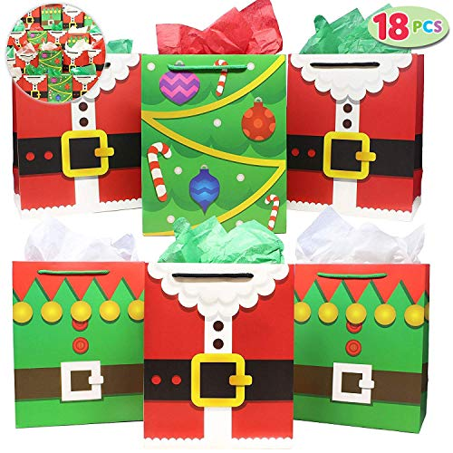 18 Pack of Santa Claus Suit Medium Gift Bags 3 Christmas Designs Goodie Bags for Classrooms Party Favors Small Gift Bags Kraft Holiday Gift Bags and Christmas Craft Bags by Joiedomi