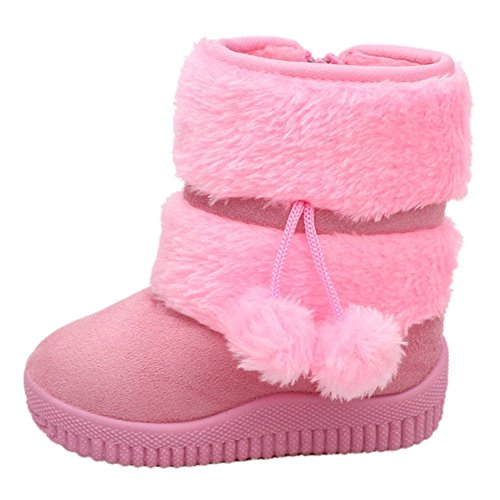 LOSORN ZPY Toddler Baby Boy's Girl's Snow Boot Flat Pom Pom Winter Warm Shoes Ankle Booties (1-7 Years Kids) Pink