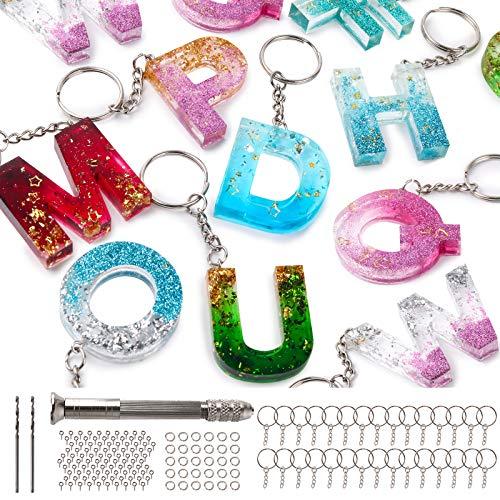 Mocoosy 134Pcs Kit di stampi in resina con alfabeto in silicone,Lettera Numero Stampi per colata di resina epossidica Portachiavi Making Set con 1 trapano,2 punte da trapano,30 anelli,100 perni a vite