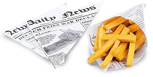 1000 x Pommestüte in spitzer Form, aus fettdichtem Papier, bedruckt, im Stil einer englischen Zeitung / 25,5 x 18 cm | ERK (Pommestüten)