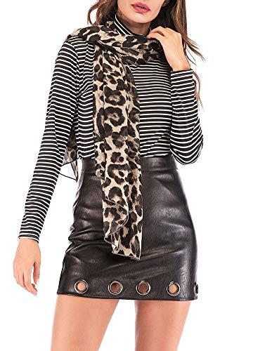 Romacci Women Chiffon Scarf Leopard Print Long Shawl Pashmina Beach Elegant Thin Scarf (one size, brown)
