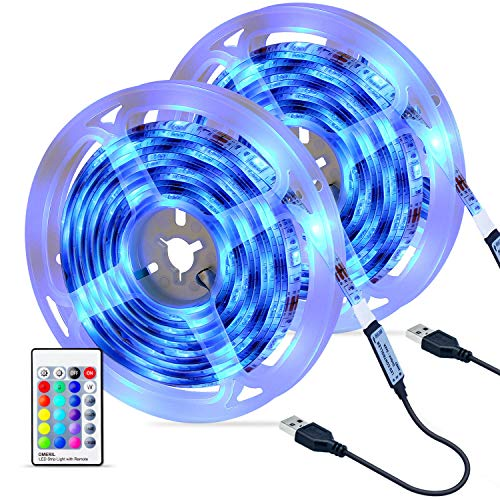 Tiras LED 6M, OMERIL Impermeable Tira LED USB con Control Remoto, 4 Modos de Brillo y 16 Colores, 5050 RGB Tira LED para...