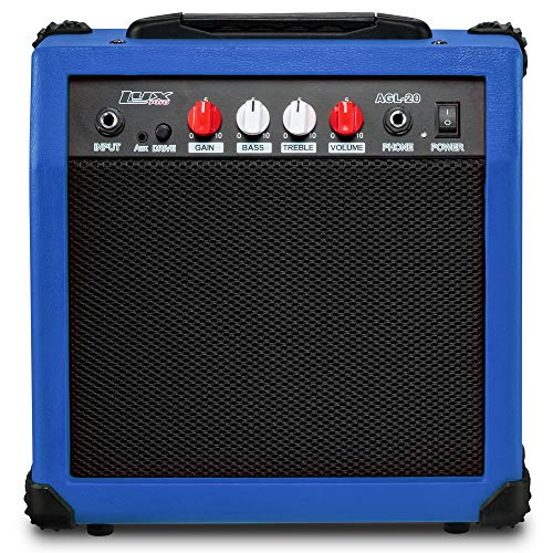 LyxPro Electric Guitar Amp 20 Watt Amplifier Built In Speaker Headphone Jack And Aux Input Includes Gain Bass Treble Volume And Grind - Blue