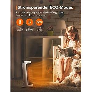 Heizlüfter, TaoTronics Keramik Heizlüfter mit Fernbedienung und 2 Heizstufen (2000W/1200W), Badenzimmer energiesparend leise Heizung Heater mit ECO Modus, 65° Oszillation, 0-7H Timer, GS-zertifiziert