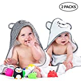 2 Pack Hooded Baby Towels for Boys & Girls - Soft Cotton Infant Towel with Hood Set - Unisex Toddler & Newborn Bath Towels for Boy Or Girl - Baby Shower Gift