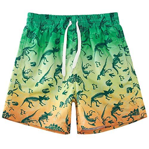 Cutemile Shorts Jungen Strandshorts Kinder Schnelltrocknend Verstellbare Taille Jungen Badehose Atmungsaktive Leichte Dinosaurier Bademode Boardshort