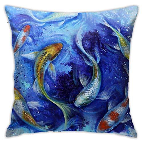qidong Japanische Koi Fisch dekorative Überwurfkissenbezug Quadratische Kissenhülle für Zuhause Sofa Schlafzimmer Auto Stuhl Haus Party In