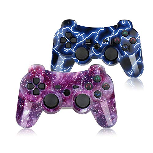 PS3 Controller Wireless Gamepad for Playstation 3 Wireless Remotes with Charging Cable Blue and Purple Set