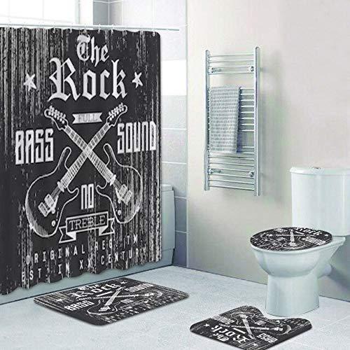 AIDEMEI Grunge Sketch The Rock gekreuzte Gitarre Duschvorhang Badezimmer Gardinen Matte Hippie Musik Home Decor Full Bass So& Badewanne Dekor 180X180CM
