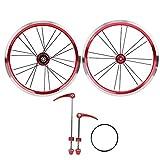 VGEBY Juego de Ruedas de Bicicleta Plegable de 16 Pulgadas, Rueda de liberación rápida Delantera 2 Trasera 4 rodamientos 11 velocidades V Cambio de Velocidad de Freno(Rojo)