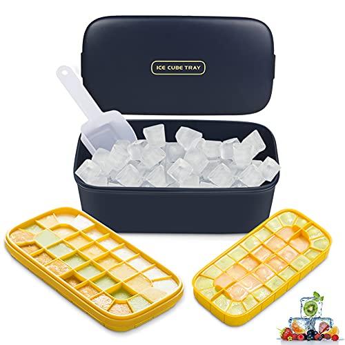 Eiswürfelform,DIAOPROTECT Eiswürfelbehälter mit Deckel,Doppelschicht BPA-Frei Eiswürfelformen Silikon Ice Cube Tray für Cocktail,Whisky,Saft,Babynahrung,LFGB Zertifiziert(64 Fach,Dunkelblau) (64-Fach)