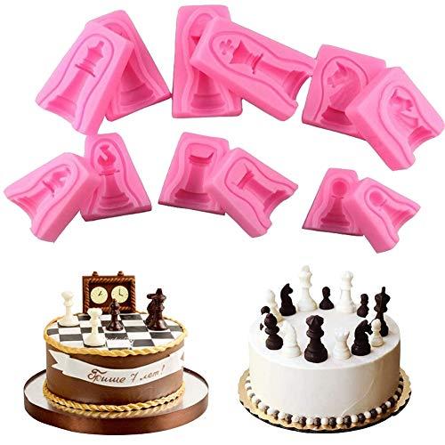 WonDerfulC - Molde de silicona para fondant, juego de 6 piezas de ajedrez internacional para tartas, chocolate, jabón, moldes de ajedrez en 3D, diseño de caballo y soldado