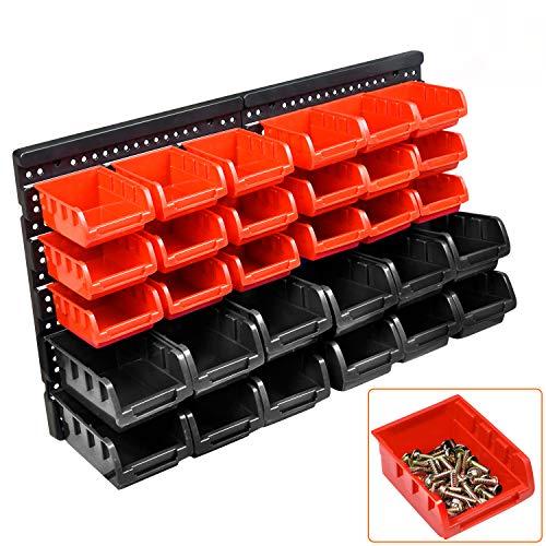 32tlg Stapelboxen Wandregal Set Werkstattregal Box Sichtlagerkästen Werkstatt Lagersystem Schüttenregal Steckregal, Schwarz + Rot