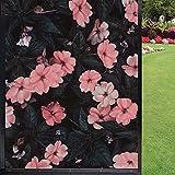 Película de privacidad para ventana, diseño de flores rosas con fondo para ventana, privacidad esmerilada, para hogar, oficina, baño, cocina, sala de reuniones, hotel, hospital, 45 x 60 cm