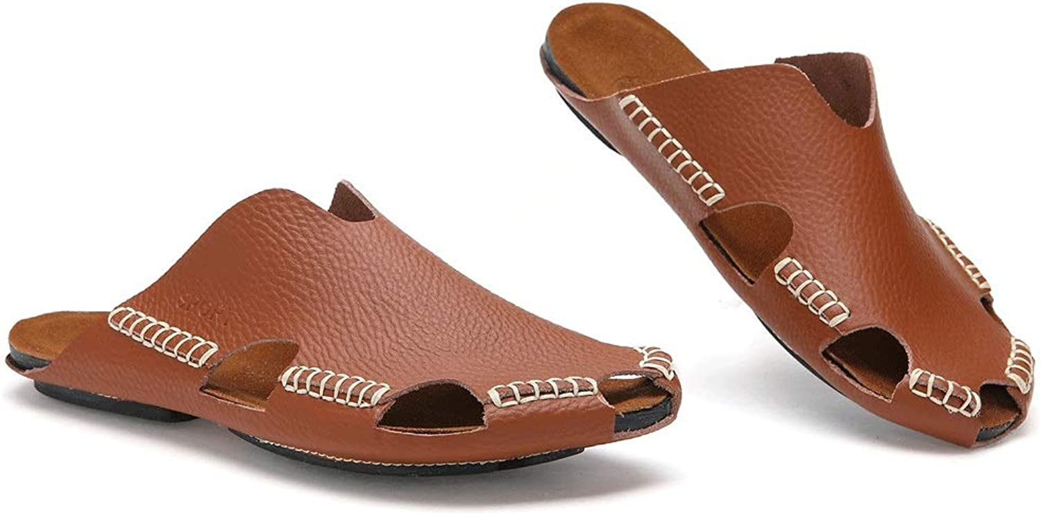 Men's Leather Sandals, Closed Toe Sandals Men's Outdoor Casual Beach shoes Slippers Non-slip Slippers (color   Light brown, Size   5 UK)