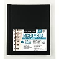 Grumbacher Mixed Media Paper Hardcover Sketchbook with In and Out Pages and Hidden Wire, 90 lb. / 185 GSM, 7 x 10 Inches, Side Wired, 40 White Sheets, 460700663