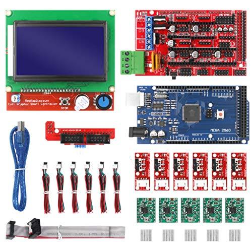 Cimoto Kit de Impresora CNC 3D con Placa Mega 2560, Controlador RAMPS 1.4, LCD 12864, Controlador Paso una Paso A4988 para