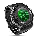 YEENIK Men's Digital Sport Watch, Military Watches with 50M Waterproof Stopwatch Army Alarm Chime Hourly Count Down Calendar Date Dual Time and Simple Luminous 12/24 for Men—Black