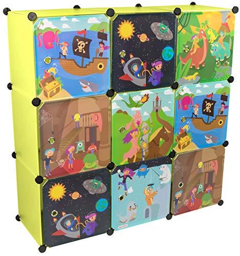 KEKSKRONE Großer Kinderschrank Bunte Motiv-Türen - DIY Stecksystem - 9 Module je 37 x 37 x 37 cm, Grün | Kinderzimmer-Schrank | Kinderkleiderschrank | Baby-Regal | Spielzeugkommode