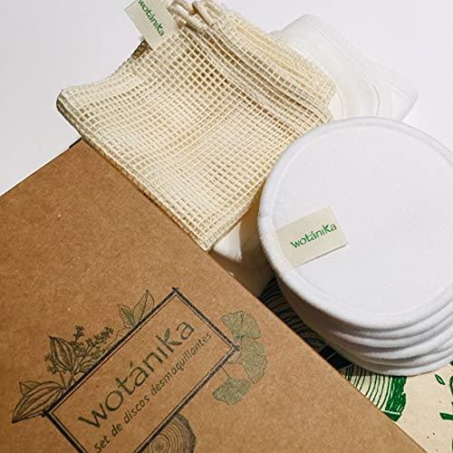 Set de discos desmaquillantes con toalla facial, bolsa de algodón y bolsa rejilla para lavadora
