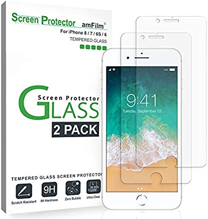 amFilm Glass Screen Protector for iPhone 8, 7, 6S, 6...