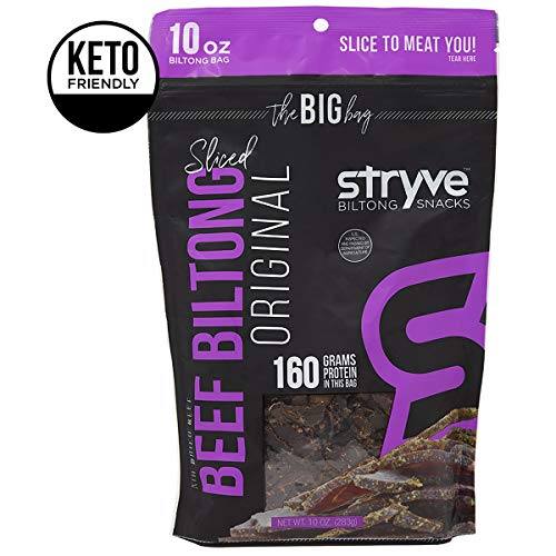 Stryve Biltong | Healthy Keto & Paleo Friendly Air-Dried Beef Snacks | 50% More Protein than Beef Jerky, Gluten Free, Low Carb, Sugar Free, No Nitrates, No Preservatives, No MSG | Original, 10oz