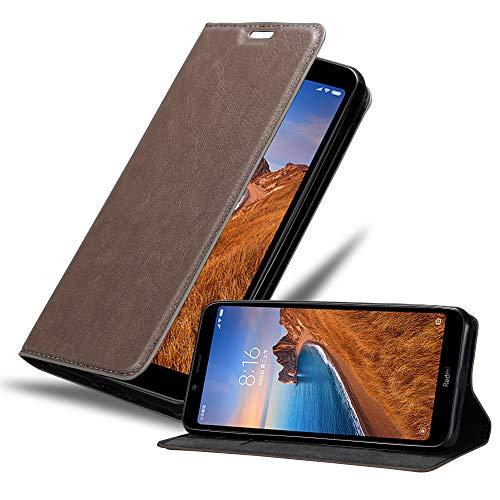 Cadorabo Hülle für Xiaomi RedMi 7A in Kaffee BRAUN - Handyhülle mit Magnetverschluss, Standfunktion & Kartenfach - Hülle Cover Schutzhülle Etui Tasche Book Klapp Style