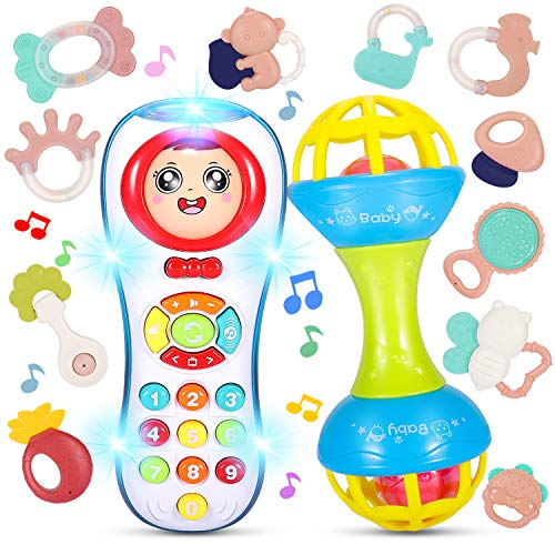 Magicfun Baby Rattles Teethers Set, 13pcs Grab and Spin Rattle Shaker, Electronic Grab Shaker with Music and Light, Early Educational Toys Gifts for Infant Newborn 3 6 9 12 Months Boys and Girls