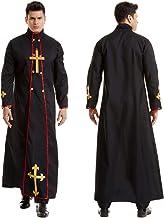 Men's Priest Costume Adult Medieval Monk Cloak Renaissance Priest Robe Halloween Costume Cosplay Costume,Black,M