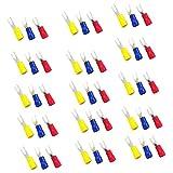 Gazechimp 150pcs Conjuntos Tornillo Prensado Espada Horquilla Terminal Conector U Forma SV2-4/ SV2-3.2 Terminales Alarma de Audio de Coche - Azul + rojo + amarillo SV2-4