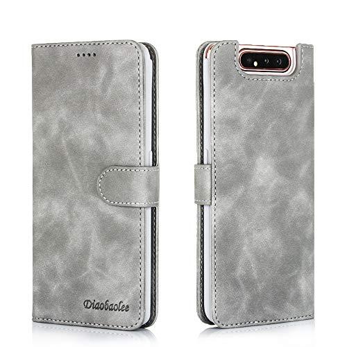 Capa para celular Samsung A80,[capa de couro TPU de alta qualidade] [carteira] [capa para celular com fivela magnética],cinza
