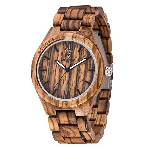 MUJUZE Herren Analoge Quarz Armbanduhren mit Zebraholz Band und Leuchtendem Zeiger ME1001Zebra